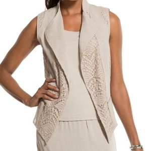 Chico's Linen and Crocheted Lace Vest